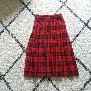 Vintage Pendleton wool red pleated skirt